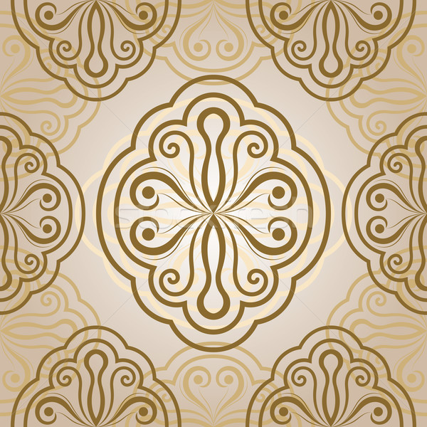 Seamless abstract flower bud vector beige ornament.  Stock photo © lenapix