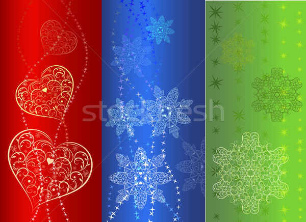 Colorful  vertical banner design in three variants. Stock photo © lenapix