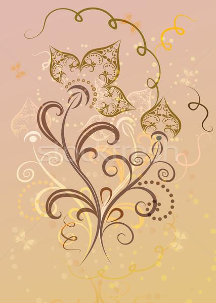 Abstrato decorativo amarelo flor-de-rosa cartão luz Foto stock © lenapix