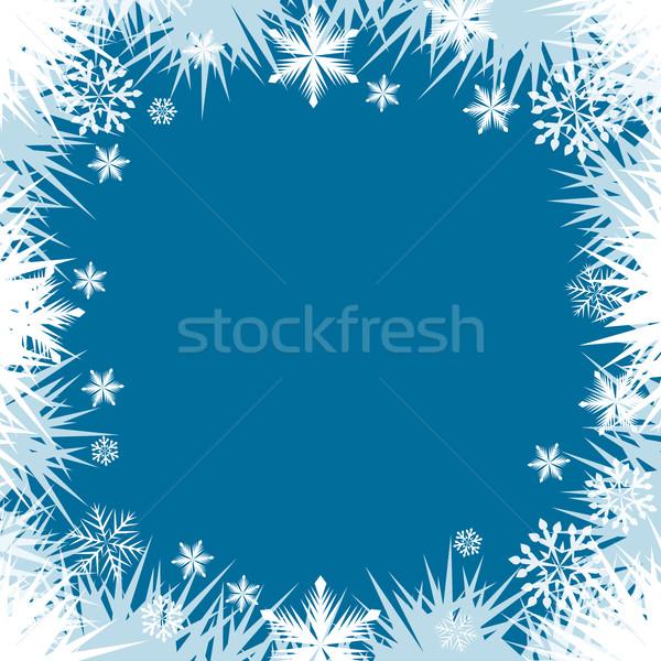 Soyut don kar tanesi pencere sınır çerçeve Stok fotoğraf © lenapix