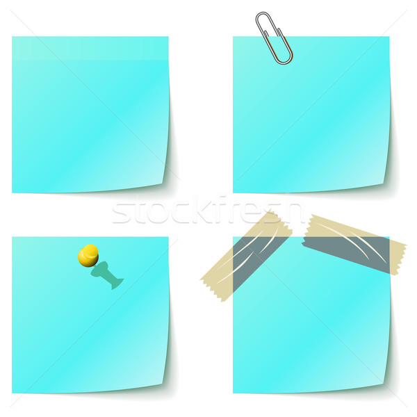 Blue sticky notice papers isolated on white. Stock photo © lenapix