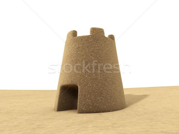 Homokvár 3d render fehér homok kastély építkezés háttér Stock fotó © lenapix