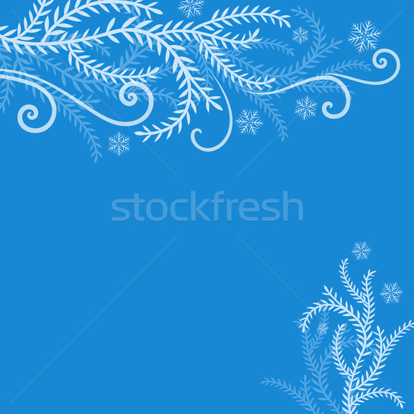 Abstract blue winter frosted branches Christmas background Stock photo © lenapix