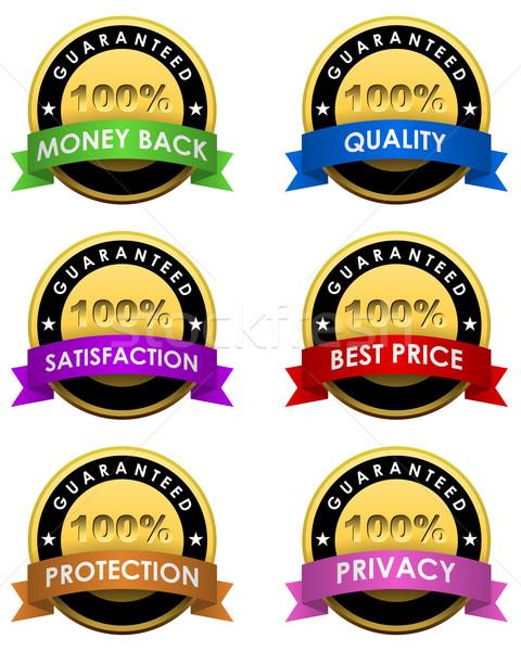 100 garantito etichette set isolato bianco Foto d'archivio © lenapix