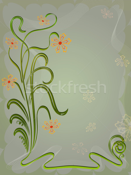Dark green flower card with copy space. Stock photo © lenapix