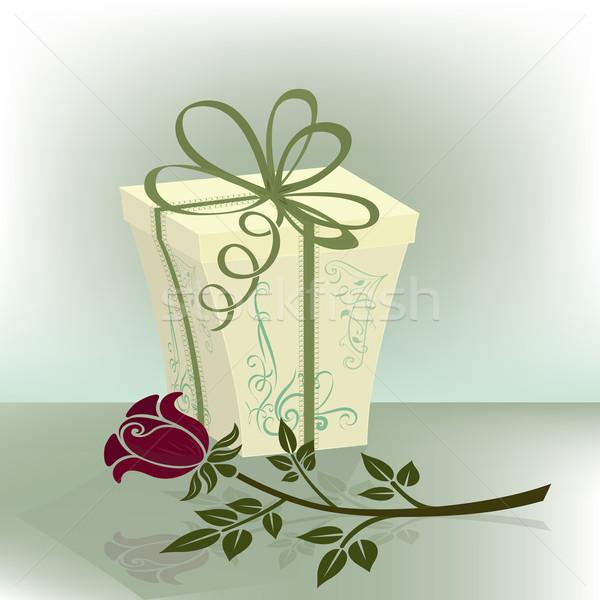 Presenti finestra viola rosa fiore stampa Foto d'archivio © lenapix