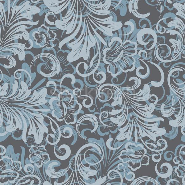 Inverno blu floreale carta da imballaggio vettore pattern Foto d'archivio © lenapix