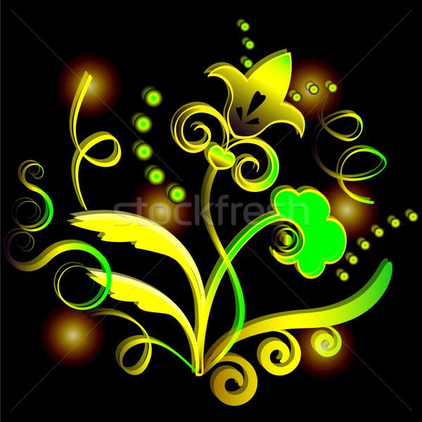 аннотация желтый цветок черный цветок весны дизайна Сток-фото © lenapix