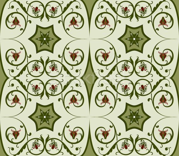 Seamless green floral vector pattern. Stock photo © lenapix