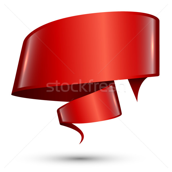 Red blank glossy swirly banner isolated on white background Stock photo © lenapix