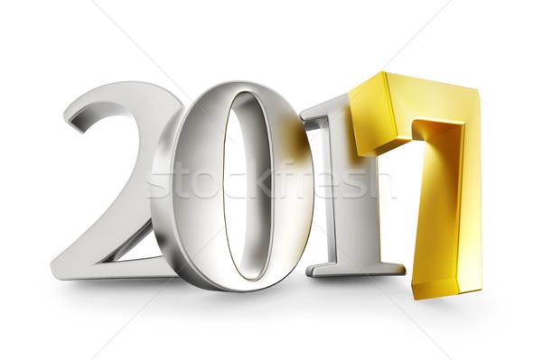 новых год серебро золото изолированный белый Сток-фото © lenapix