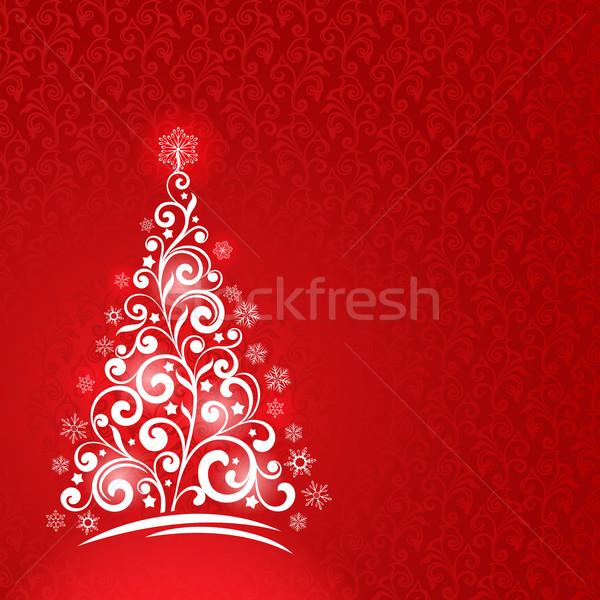 Díszítő karácsonyfa üdvözlőlap vektor sablon piros Stock fotó © lenapix