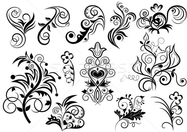 Feketefehér virágmintás terv elemek virág levél Stock fotó © lenapix
