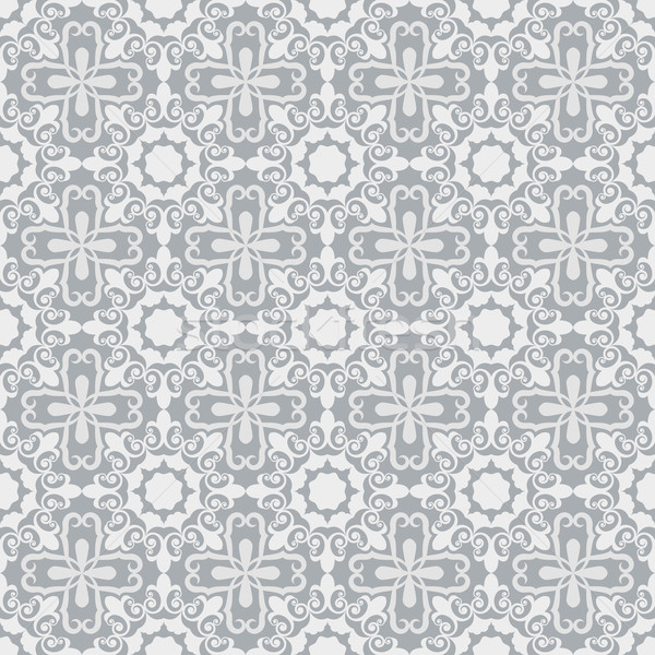 Seamless grey and white ornamental vector wallpaper pattern. Stock photo © lenapix