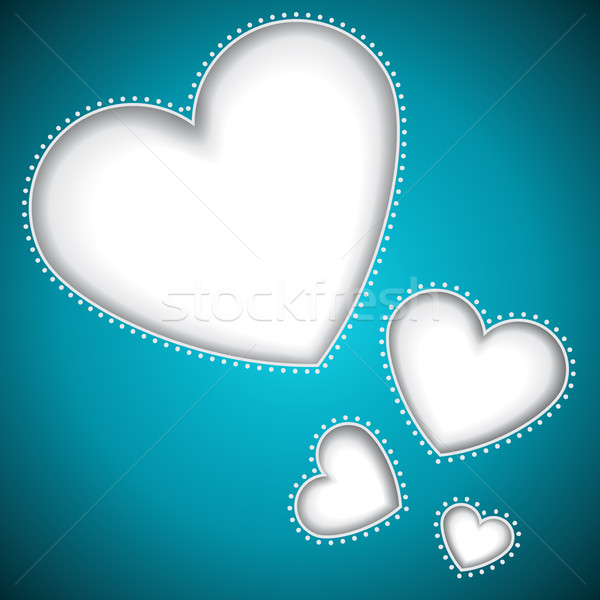 Cut heart shapes Valentines Day blue card. Stock photo © lenapix