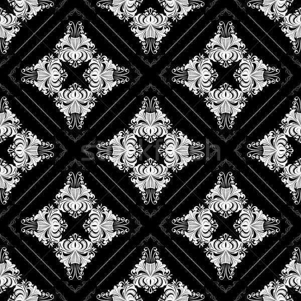 Végtelenített régi tapéta minta virágok feketefehér díszes Stock fotó © lenapix