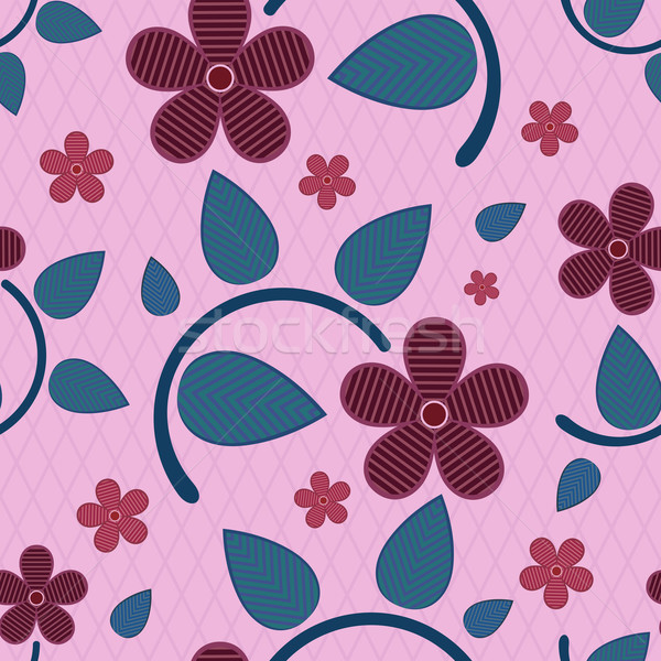 Abstract seamless striped flower vector pattern. Stock photo © lenapix