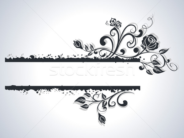 Black and white rose frame vector background. Stock photo © lenapix