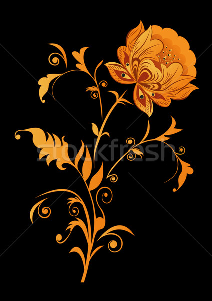 Orange decorative flower on black background vector illustration Stock photo © lenapix