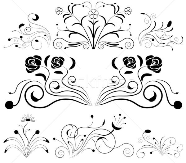 Black and white floral design elements. Stock photo © lenapix
