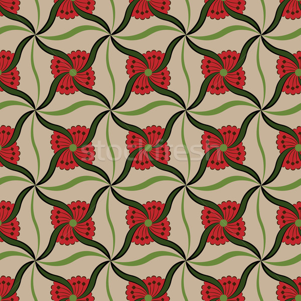 Symmetrical red flower buds vector pattern.  Stock photo © lenapix