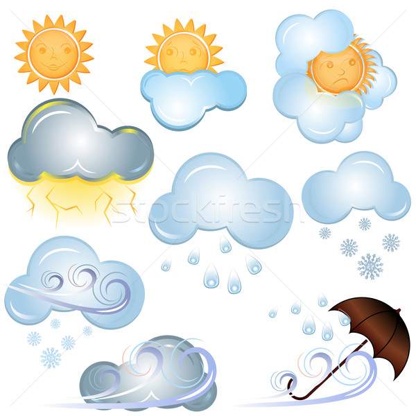 Vector weather signs isolated on white background. Stock photo © lenapix
