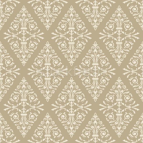 Seamless light beige floral vintage vector background. Stock photo © lenapix