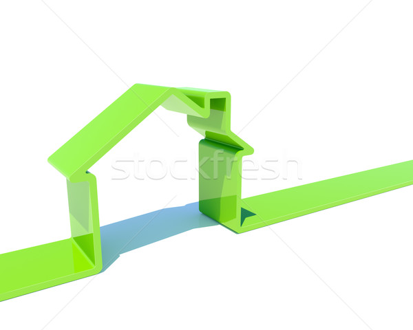 3D house green shape isolated on white background image. Stock photo © lenapix