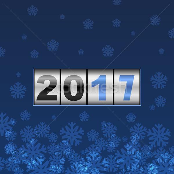 Blu counter capodanno carta fiocchi di neve vettore Foto d'archivio © lenapix