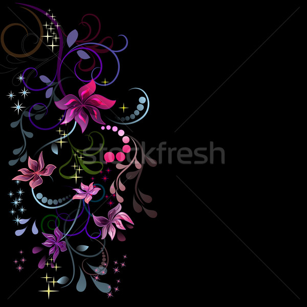 Colorful flowers design with black copy space. Stock photo © lenapix