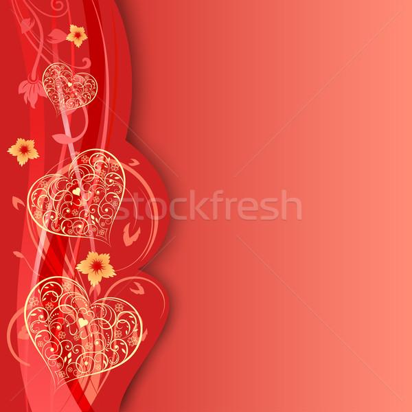 San valentino giorno carta cuori fiori copia spazio Foto d'archivio © lenapix