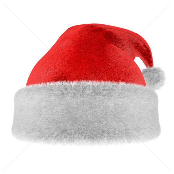 Karácsony szőr kalap izolált fehér szín Stock fotó © lenapix