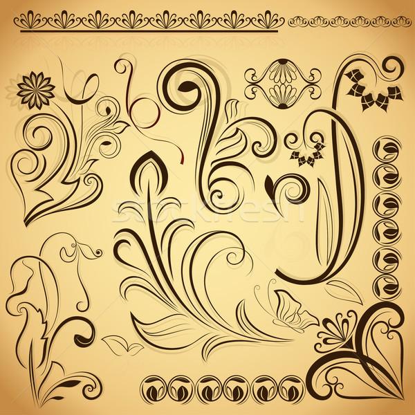 Floral vintage vector design elements. Stock photo © lenapix