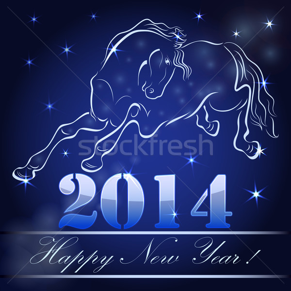 New 2014 year card with horse outline. Stock photo © lenapix