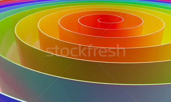Stock photo: Abstract colorful 3D spiral horizontal background.