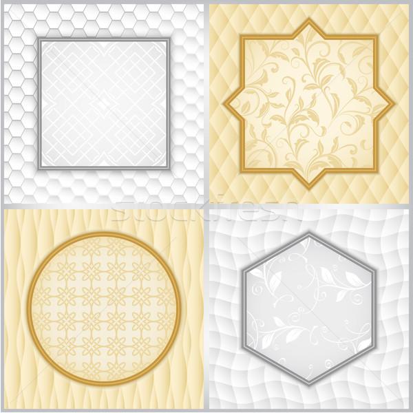 Abstract witte Geel vintage frame vector Stockfoto © lenapix