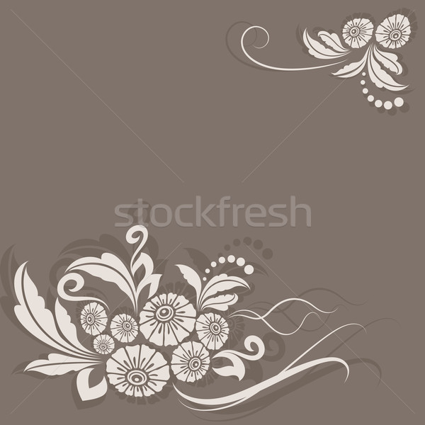Abstract vintage beige flower corner decoration vector card. Stock photo © lenapix