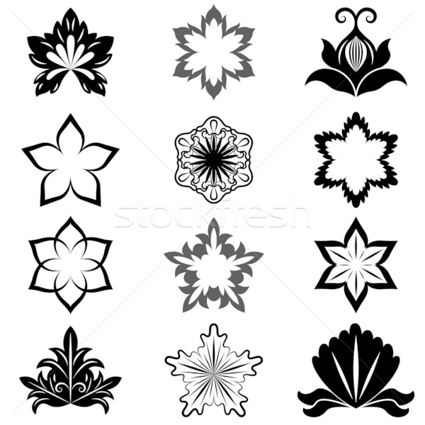 Foto stock: Blanco · negro · flor · diseno · elementos · vector · establecer