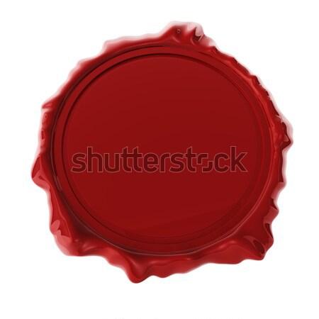 Rosso cera sigillo isolato bianco rendering 3d Foto d'archivio © lenapix
