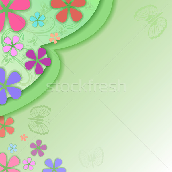 Summer green vector background with flower buds and copy space. Stock photo © lenapix