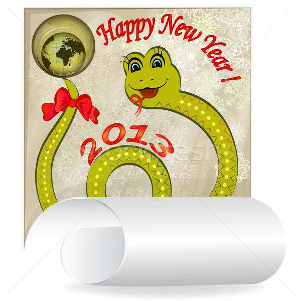 New 2013 year card with cartoon snake. Stock photo © lenapix