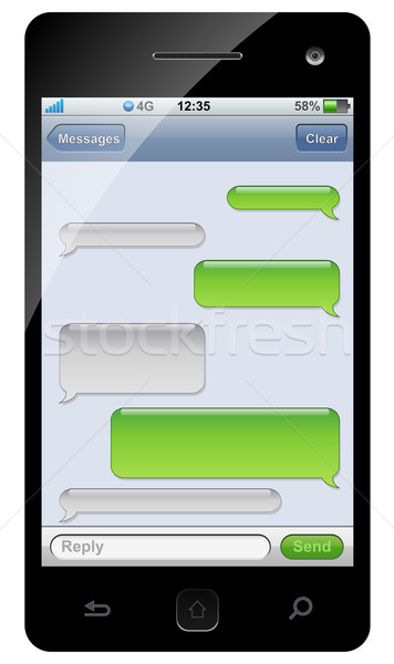 Smartphone sms chat template with copy space. Stock photo © lenapix