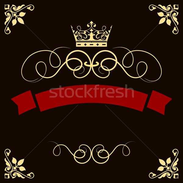 Abstract rosso banner corona angolo decorativo Foto d'archivio © lenapix