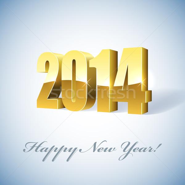 Nowego 2014 rok złoty karty szczęśliwy Zdjęcia stock © lenapix
