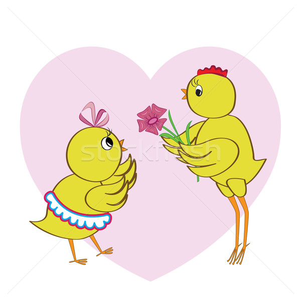 Chickens in love in front of pink heart Stock photo © lenapix