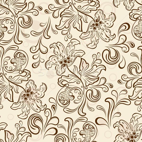 Végtelenített virágmintás skicc vektor tapéta minta Stock fotó © lenapix
