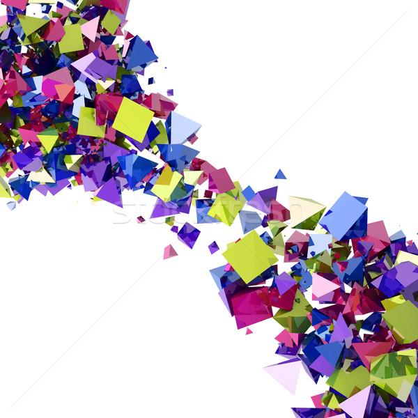 Absztrakt színes piramis folyam izolált fehér Stock fotó © lenapix