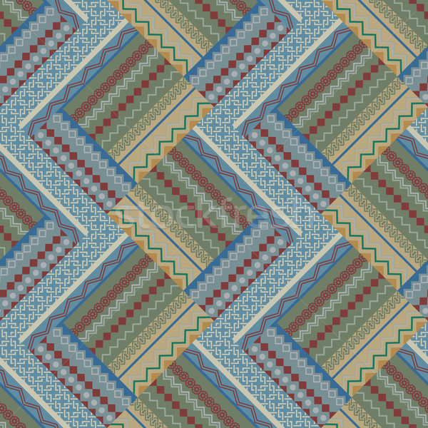 Seamless beige and blue patch vintage vector pattern. Stock photo © lenapix