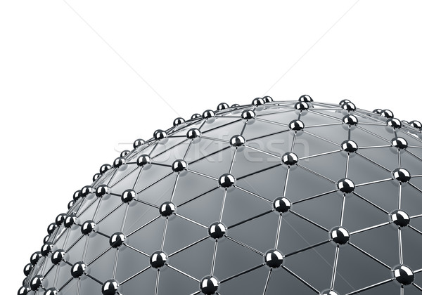 Meshes chrome sphere 3D background with white copy space. Stock photo © lenapix