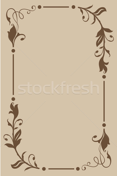 Abstract beige and brown floral vintage frame design with copy s Stock photo © lenapix